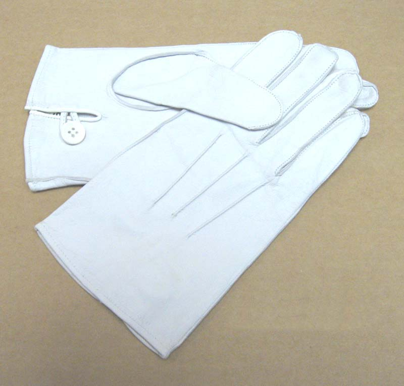 Genuine Leather Gloves, Officers, White