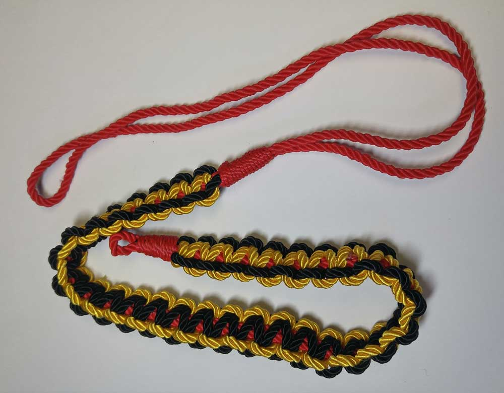 Shoulder Cord, Black, Gold & Red, Small