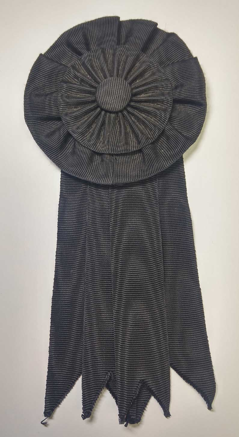 Cockade with Ribbon: Black Silk Moire