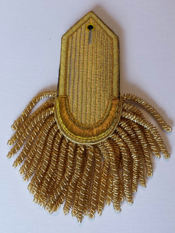 Epaulette, Gold, Plain, Crescent Curve – Pointed